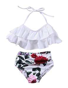 XUNYU Girls Swimsuit Falbala High Waisted Bathing Suit Halter Neck Bikini Swimwear Tankini White 9-10 Years