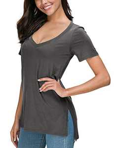 Herou Women Casual Summer Short Sleeve Tops T-Shirts Tees with Side Split (Vneck Grey, X-Large)