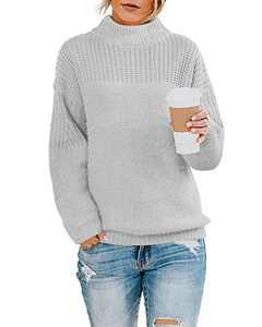 Womens Pullover Boyfriend Knit Sweater Oversized Crew Neck Drop Shoulder Solid Tops Grey