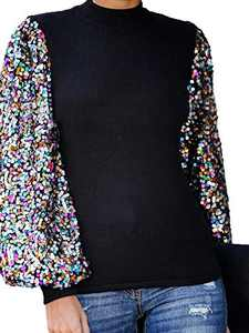 Anna-Kaci Women's Confetti Sequin Balloon Long Sleeve Mock Neck Pullover Sweatshirt, Black, Medium