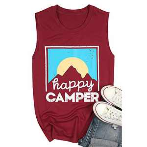 Happy Camper Tank Tops for Women Cute Graphic Shirt Casual Loose Sleeveless Shirts Womens Summer Tops Red