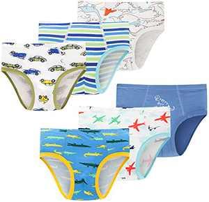 Boys Airplane Underwear Kids Children Cotton Panties Breathable Cars Comfort Briefs(Pack of 6)