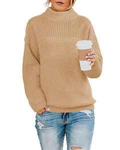 Womens Pullover Boyfriend Knit Sweater Oversized Crew Neck Drop Shoulder Solid Tops Khaki