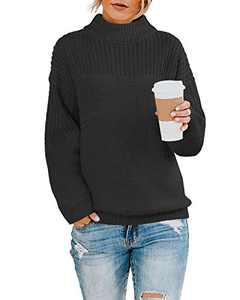 Womens Pullover Boyfriend Knit Sweater Oversized Crew Neck Drop Shoulder Solid Tops Black