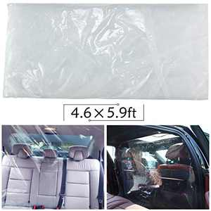 PAMASE 4.6 × 5.9 Feet Car Isolation Film- Durable Anti-Fog Taxi Cab Front Curtain HD PVC Protective Rear Row Isolation Cover Full Surround Transparent Car Isolation Membrane for Car Taxi