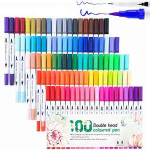 Dual Tip Brush Marker, Alchilalart 100 Colors Coloring Art Markers Watercolor Fine Point Soft for Kids Adults Coloring Drawing Artists