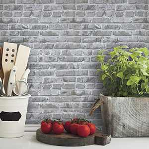 "HeloHo 196.8""X17.71"" Gray Brick Peel and Stick Wallpaper Removable Wallpaper Self-Adhesive 3D Textured Brick Wallpaper Waterproof Contact Paper Kitchen Backsplash Bedroom Living Room Wall DIY Decor"