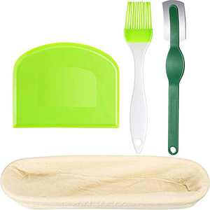 Bread Baking Tools, Including Bread Banneton Proofing Basket Oval Bread Proving Basket for Dough Rising with Bread Scraper, Silicone Brush and Bread Lame