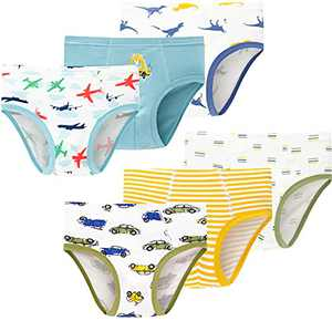 Boys Soft Cotton Dinosaurs Panties Little Kids Breathable Cute Cars Underwear (Pack of 6)