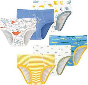 Boys Comfort Panties Soft Cotton Dinosaur Underwear Cute Breathable Briefs(Pack of 6)