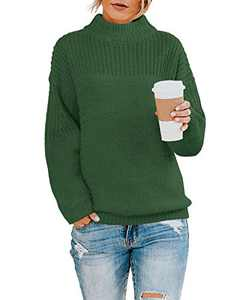 Womens Pullover Boyfriend Knit Sweater Oversized Crew Neck Drop Shoulder Solid Tops Army Green
