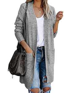 Modershe Womens Open Front Long Cardigans Long Sleeve Boho Loose Knit Sweater Tops Lightweight Duster Coat with Pockets Grey