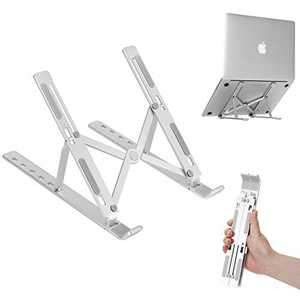 E-Tree Laptop Stand, Notebook Stand Tablet PC Stand, Aluminum Adjustable Angle Lightweight Foldable Portable Desktop Holder, Compatible with All Laptops (Up to 15.6 inch), Grey