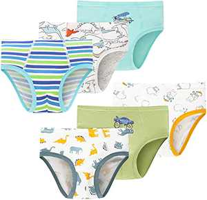 Toddler Boys Cotton Underwear Kids Dinosaurs Panties Breathable Comfort Briefs(Pack of 6)