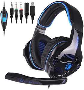 Xbox Headset, Stereo Surround Sound Gaming Headset with Mic&LED Light&Noise Cancelling for Xbox One,PS4, PS5 Over Ear Headphones with Mic for PC Laptop Mac Nintendo Switch, Computer Games