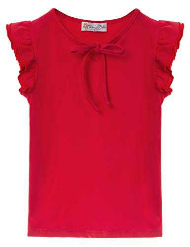 Toddler Baby Girl Top Basic Plain Ruffle Tee Long Sleeve T-Shirts Blouse Clothes Red 6Y