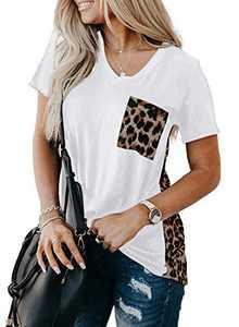 Zecilbo Womens Leopard Patchwork Vneck Summer T Shirt Short Sleeve Casual Comfy Soft Blouse White, Medium