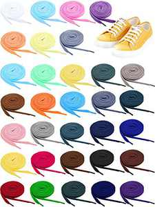 32 Pairs Flat Colored Shoe Laces Athletic Shoe Laces Strings for Sports Shoes Boots Sneakers Skates, 32 Colors (40 Inch)