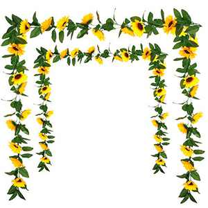 2 Pack Artificial Sunflower Garland Silk Sunflower Hanging Vine Garland with Flowers Green Leaves for Wedding Table Garden Craft Party Decoration