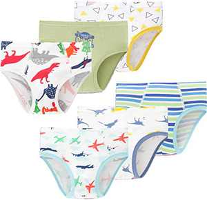 Little Boys Dinosaurs Soft Cotton Underwear Toddler Airplane Panties Kids Briefs(Pack of 6)
