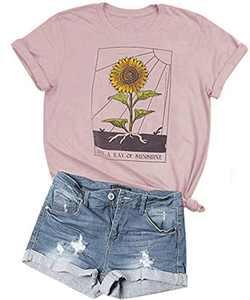 Teens Sunflower Just Ray of The Sunshine T-Shirt Cute Summer Tee Teen Girls Casual Tops (M, Pink#1)