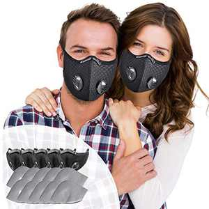 SOKERDY Sports Masks 5Piece with10PCS Filters Net Breathable & Comfortable Dust Masks Washable Reusable Masks Balaclava Mask Black