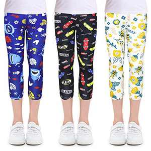 slaixiu 3-Pack Printing Flower Girl Leggings Kids Classic Pants 4-11Y(SXABK_140#)