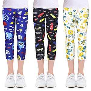 slaixiu 3-Pack Printing Flower Girl Leggings Kids Classic Pants 4-11Y(SXABK_130#)