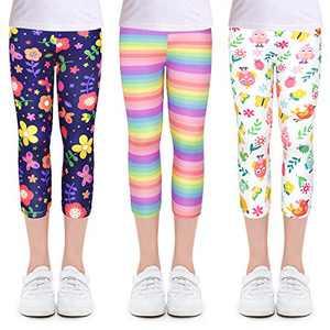 slaixiu 3-Pack Printing Flower Girl Leggings Kids Classic Pants 4-11Y(SXUGJ_160#)