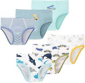 Baby Sharks Underwear Little Boys Airplane Briefs Toddler Undies Children Panties(Pack of 6)