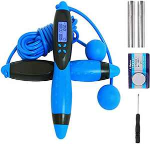SUDESMO Jump Rope,Digital Counting Speed Jumping Rope Counter for Indoor and Outdoor Fitness Boxing Training Adjustable Weighted Jump Rope Workout for Men,Women,Children Cordless Skipping Rope(Blue)
