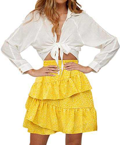 Hibluco Women's Floral Print Ruffle Mini Skirt Short A line Skirts Beach Skirts Yellow