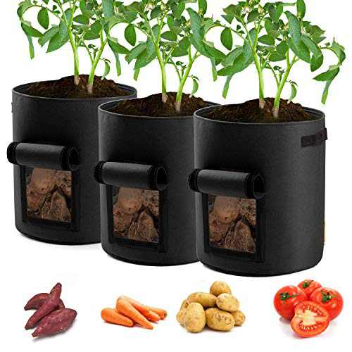 Garden4Ever Potato Planter Bags 3-Pack 10 Gallons Grow Bags Aeration Tomato Plant Pots with Flap and Handles (Black)