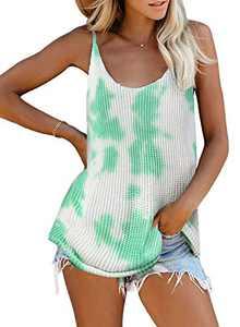 Zecilbo Women Summer Casual Sleeveless Shirt Sexy V Neck Striped Cute Basic Loose Tie Dye Tank Tops Fashion 2020 Green Large