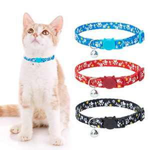 HOMIMP Cat Collars Breakaway with Bell - 3 Pack Cute Adjustable Soft Polyester Pet Kitty Collars with Fishbone and Footprint Element Printing, Red, Black and Blue