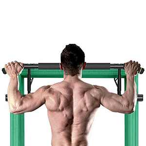 DeJAVU Lighting Pull Up Bar, Foldable Pull-Up Bar Doorway Trainer, No Assembly Required Folds Flat, Chin-Up Bars for Door Frames Without Screws/Drilling, Workout for Home Gym Exercise (Green)