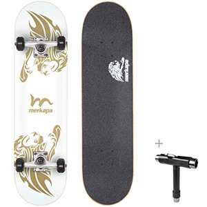 """M Merkapa 31"""" Pro Complete Skateboard Canadian Maple Double Kick Deck Concave Skateboards with Tool(Lightning)"""