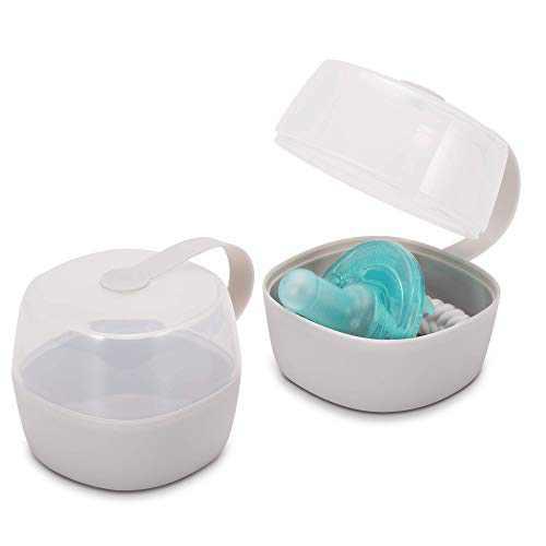 LANEYLI Pacifier Case Pacifier Holder Case Pacifier Clip Binky Holder Case Pacifier Box Pacifier Accessories 2 Pack, Macaron Grey