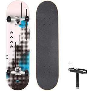"M Merkapa 31"" Pro Complete Skateboard Canadian Maple Double Kick Deck Concave Skateboards with Tool(Geometry)"