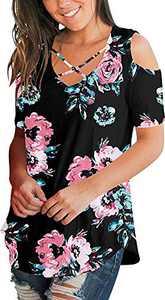 Cold Shoulder Tops Short Sleeve T Shirts V Neck Blouse Casual Criss Cross Tunic BlackRose-JC L