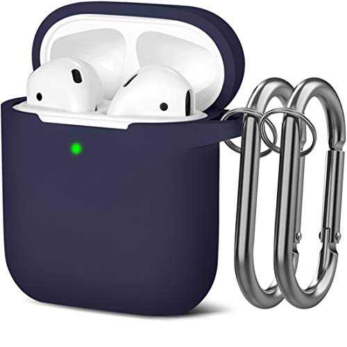 Mastten Cover Designed for AirPods Case Soft Silicone Protective Cases Cover [Front LED Visible] Compatible with Apple AirPods 2 & 1 Charging Case, with 2PCS Keychains, Women Men, Deep Blue