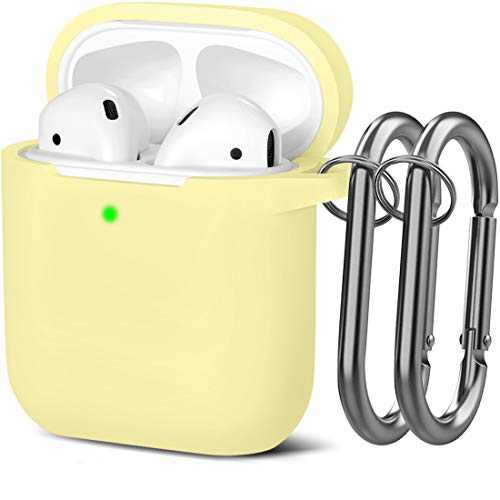 Mastten Cover Designed for AirPods Case Soft Silicone Protective Cases Cover [Front LED Visible] Compatible with Apple AirPods 2 & 1 Charging Case, with 2PCS Keychains, Women Men, Mellow Yellow