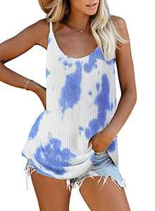 Zecilbo Women Striped Tie Dye Tank Tops Plus Size Deep V Neck Sleeveless Casual Summer Loose Fit Sexy Vest Tunic Shirts Sky Blue XX-Large