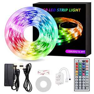 HARMONIC LED Strip Lights,16.4ft RGB Color Changing Light Strips,LED Tape Lights with 44 Keys Remote Controller,12V Power Supply,300 LEDs Lights for Bedroom,TV Backlight, Kitchen,Home