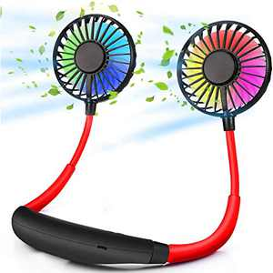 MoCaBy Neck Fan,Upgraded Portable Neck Fan with 2000mAh Battery, Aromatherapy, Dual 360° Rotation, 3 Level Speed, 7 Color LED, Low Noise, USB Rechargeable, Neckband Fan for Sport,Office,Outdoor,Travel