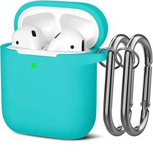 Mastten Cover Designed for AirPods Case Soft Silicone Protective Cases Cover [Front LED Visible] Compatible with Apple AirPods 2 & 1 Charging Case, with 2PCS Keychains, Women Men, Teal
