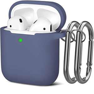 Mastten Cover Designed for AirPods Case Soft Silicone Protective Cases Cover [Front LED Visible] Compatible with Apple AirPods 2 & 1 Charging Case, with 2PCS Keychains, Women Men, Blue Gray