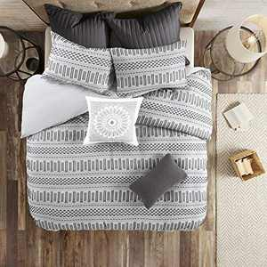 "INK+IVY 100% Cotton Comforter Mid Century Modern Design All Season Bedding Set, Matching Shams, King/Cal King(104""x92""), Rhea, Grey Geometric Clipped Jacquard 3 Piece"