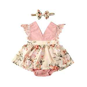 Toddler Baby Girl 2Pcs Romper + Headband Floral Sleeveless Lace Infant Newborn Jumpsuit Sets (0-6 Months, Pink-White)