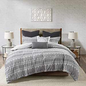 "INK+IVY 100% Cotton Duvet Set Mid Century Modern Design, All Season Comforter Cover Bedding Set, Matching Shams, King/Cal King(104""x92""), Rhea, Grey Geometric Clipped Jacquard 3 Piece"